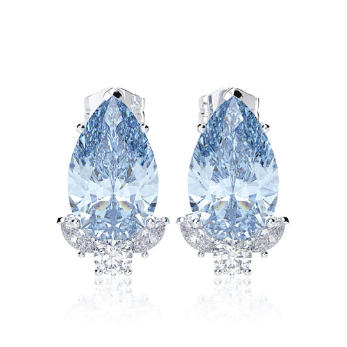 925 Sterling Silver Aquamarine & Sapphire Drop Stud Earrings - 2 Colors