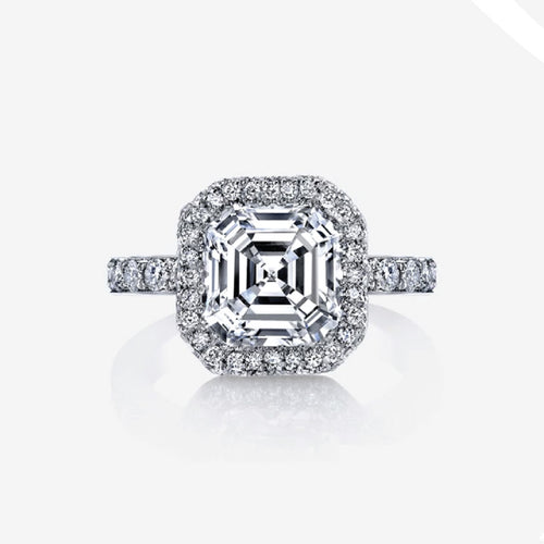 Platinum Plated Silver Halo Asscher Cut Ring - 2.03 ct main stone