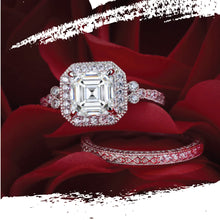 Load image into Gallery viewer, Platinum Plated Silver Asscher Cut Lab Grown Diamond Halo Ring Set