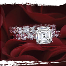 Load image into Gallery viewer, Platinum Plated Silver Asscher Cut Lab Grown Diamond Contemporary Set