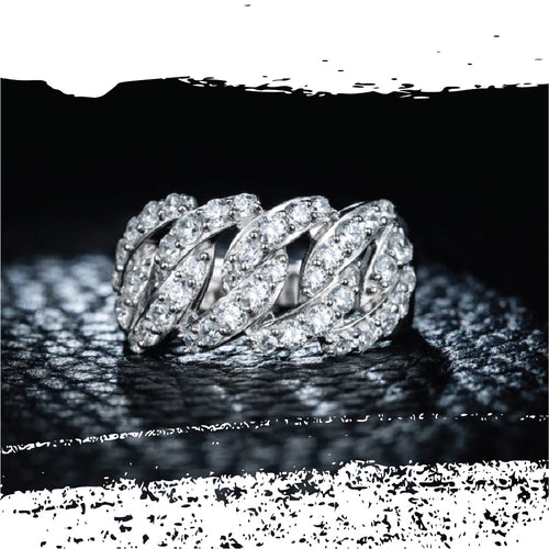 Platinum Plated Silver Diamond Chains Ring