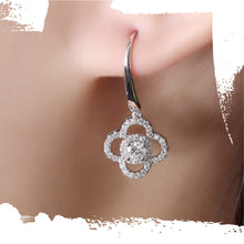 Load image into Gallery viewer, 14K White Gold Moissanite Clover Earrings