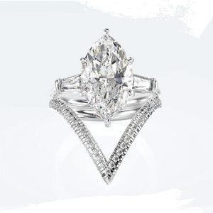 925 Sterling Silver Marquise Cut Vintage Styled Set - Available in 3 Stone Colors