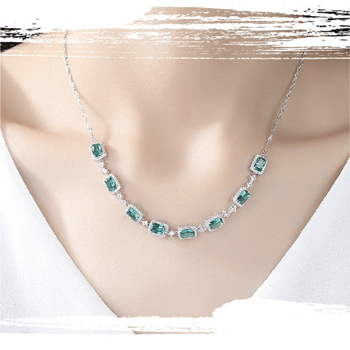 925 Sterling Silver Emeralds Charm Necklace