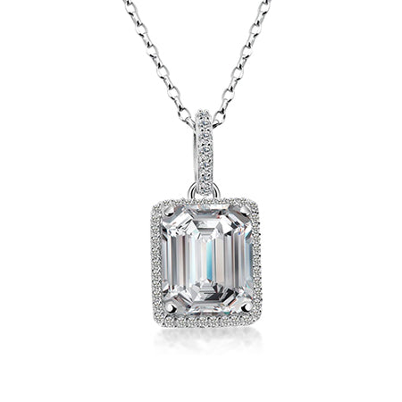 Silver Sona Diamond Emerald Halo Pendant
