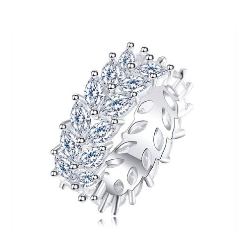 925 Sterling Silver Marquise Cut Moissanite Garland Ring