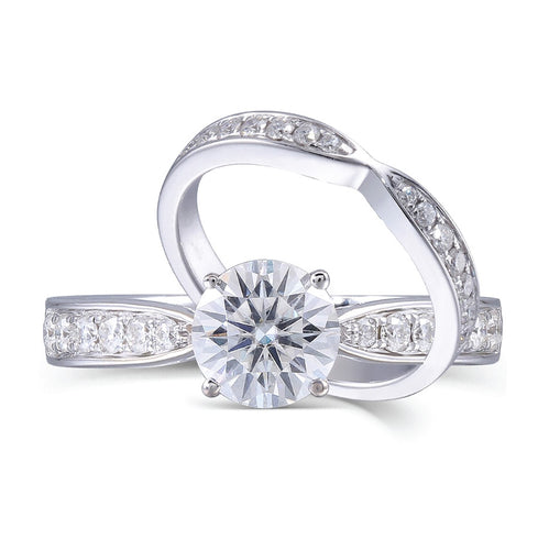 Gold Round 1 Carat Moissanite Ring Set - Buy together or Seperate