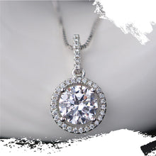 Load image into Gallery viewer, 925 Sterling Silver Moissanite Round Halo Pendant