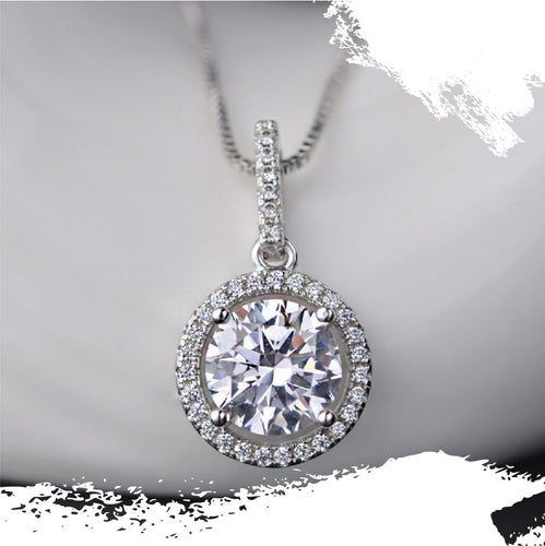 925 Sterling Silver Moissanite Round Halo Pendant