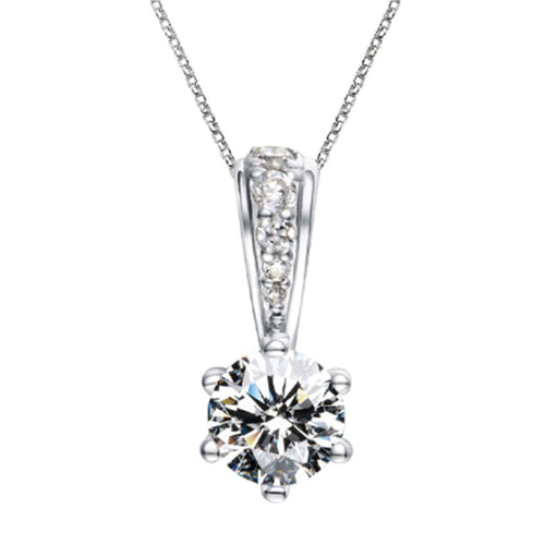 925 Sterling Silver Classic Round Moissanite Pendant
