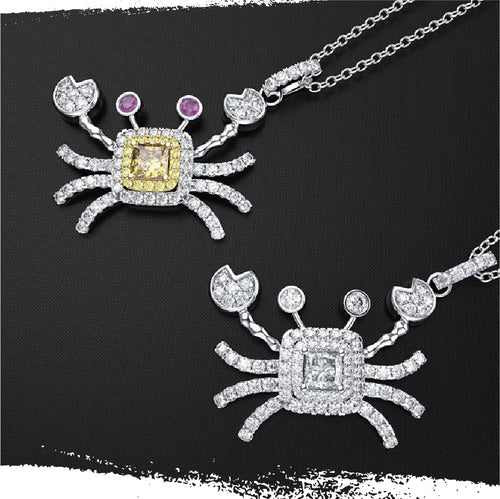 925 Sterling Silver Moissanite Crab Pendant