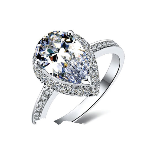 18K White Gold Clear Pear Cut Sona Diamond Halo Ring - 2 Carat