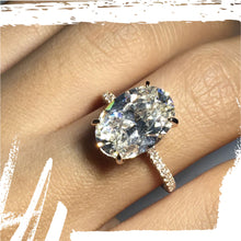 Load image into Gallery viewer, Silver Rose Gold Oval Cut Sona Diamond Ring - 5 Carat large stone