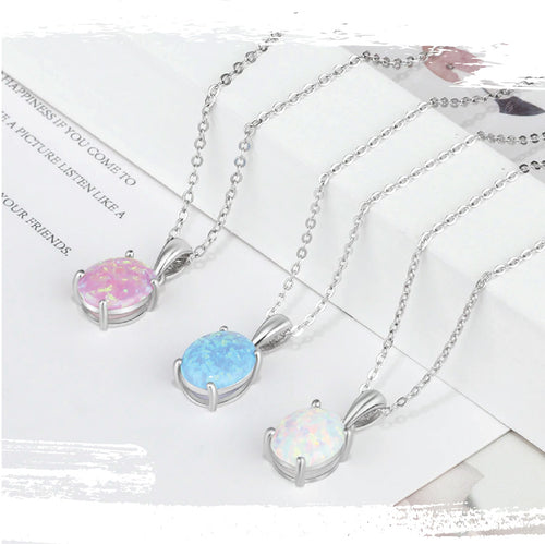 925 Sterling Silver Oval Cut Opal Pendant - 3 Colors Available
