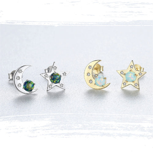 925 Sterling Silver Star & Crescent Opal Stud Earrings - 2 Color Variations