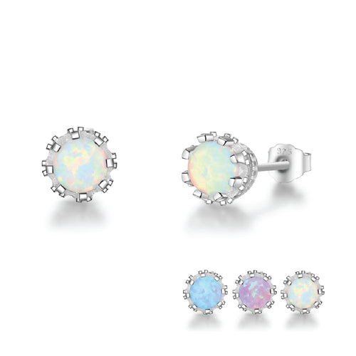 925 Sterling Silver Fire Flower Opal Stud Earrings - Available in 3 Colors