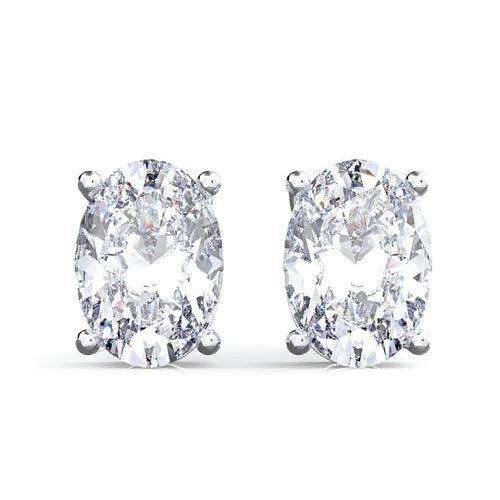 925 Sterling Silver Oval Moissanite Stud Earrings - 3 Colors Available