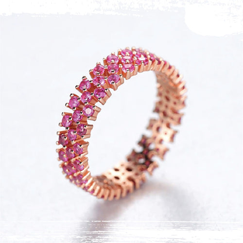 925 Sterling Silver Pink Topaz Eternity Cluster Ring