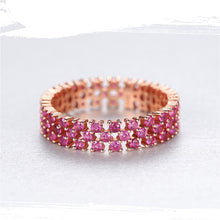 Load image into Gallery viewer, 925 Sterling Silver Pink Topaz Eternity Cluster Ring