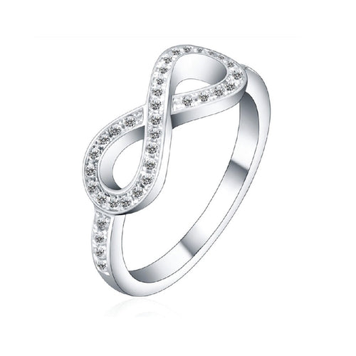 White Gold Plated Silver Figure Eight Infinity Ring