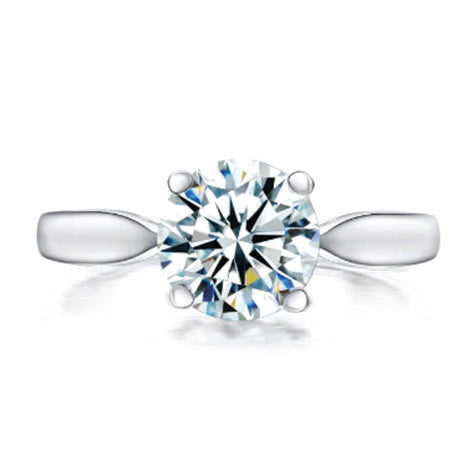 Platinum Plated Silver Solitaire Sona Diamond Ring - 2 Carats