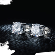 Load image into Gallery viewer, Silver Sona Diamond Round Cut Stud Earrings - 1 Carat each