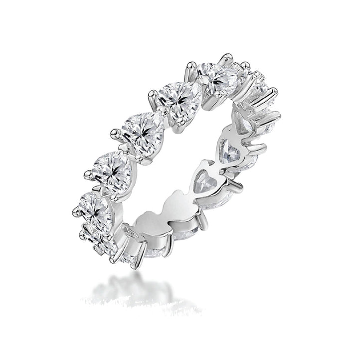 Platinum Plated Silver Lab Grown Diamond Eternal Sweetheart Ring
