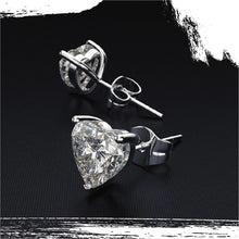Load image into Gallery viewer, 925 Sterling Silver Moissanite Sweetheart Stud Earrings