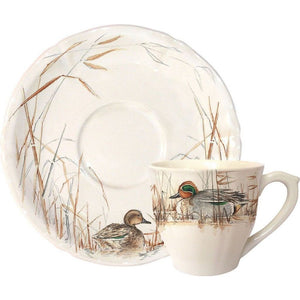 The Sologne Dinnerware Collection is a design by Estelle Rebottaro and presents true-to-life reproductions of the flaura and fauna of Sologne on the cream-colored faience earthenware. Made in France.