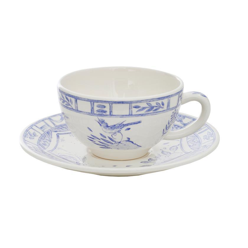 Oiseau Bleu & White Breakfast Cup and Saucer