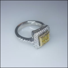 Yellow Square Two-toned Sterling Silver Ring