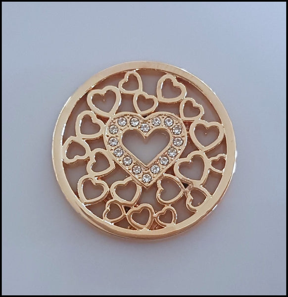 Coin for Coin Pendant - Crystal Heart Gold