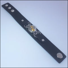 Wide Leather Hearts Snap Button Bracelet with Snap Button