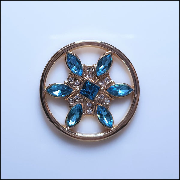 Coin for Coin Pendant - Crystal Blue Flower Gold