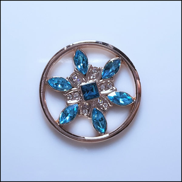 Coin for Coin Pendant - Crystal Blue Flower Rose Gold