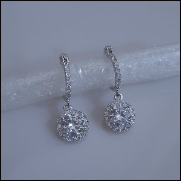 Sterling Silver Round Crystal Drop Earrings