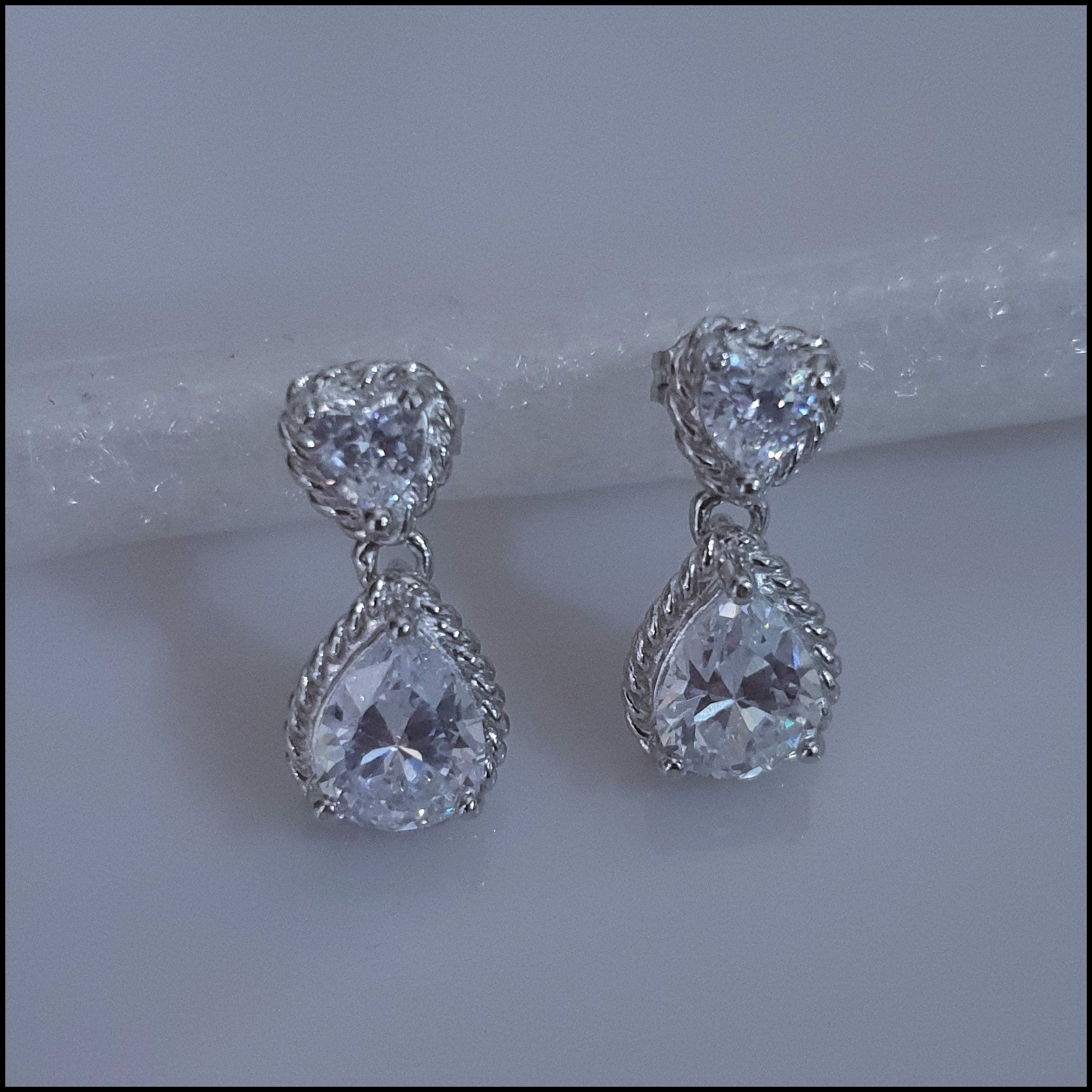 Sterling Silver Tear Shaped Crystal Drop Studs