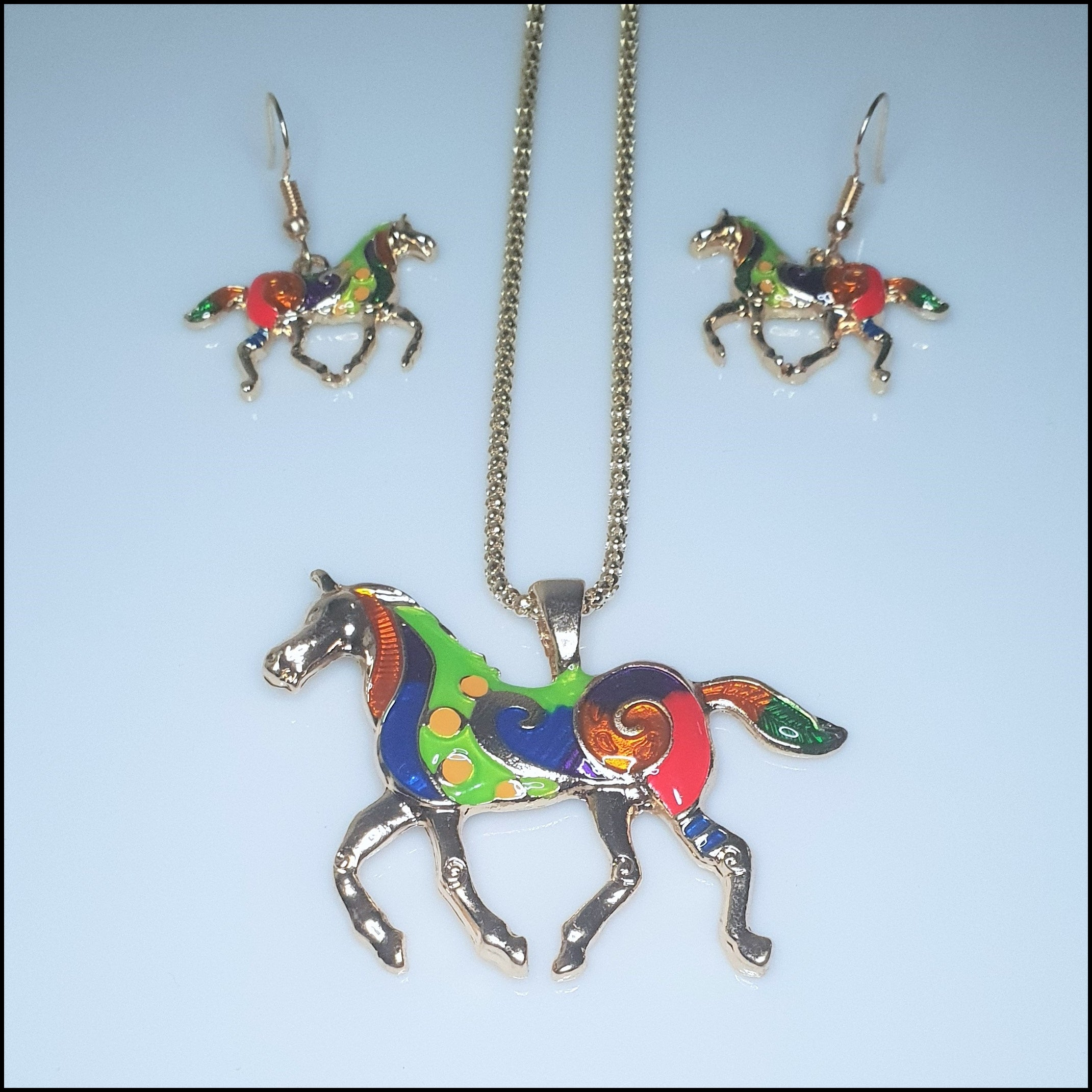 Rainbow Horse Pendant and Earring Set - Gold Plated