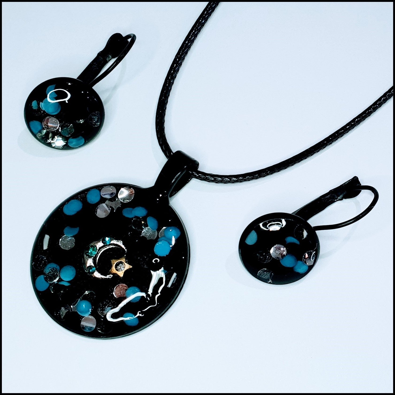 Handmade Resin Pendant and Earring Set - Black/Teal with Moon