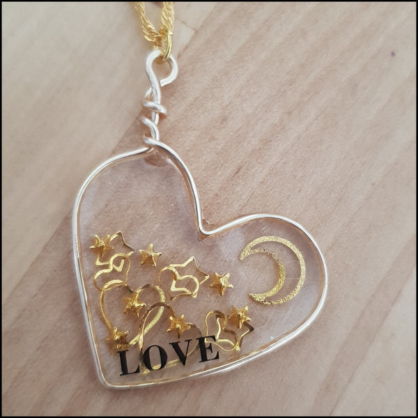 Handmade Layered Resin & Wire Pendant - Gold Heart full of Love
