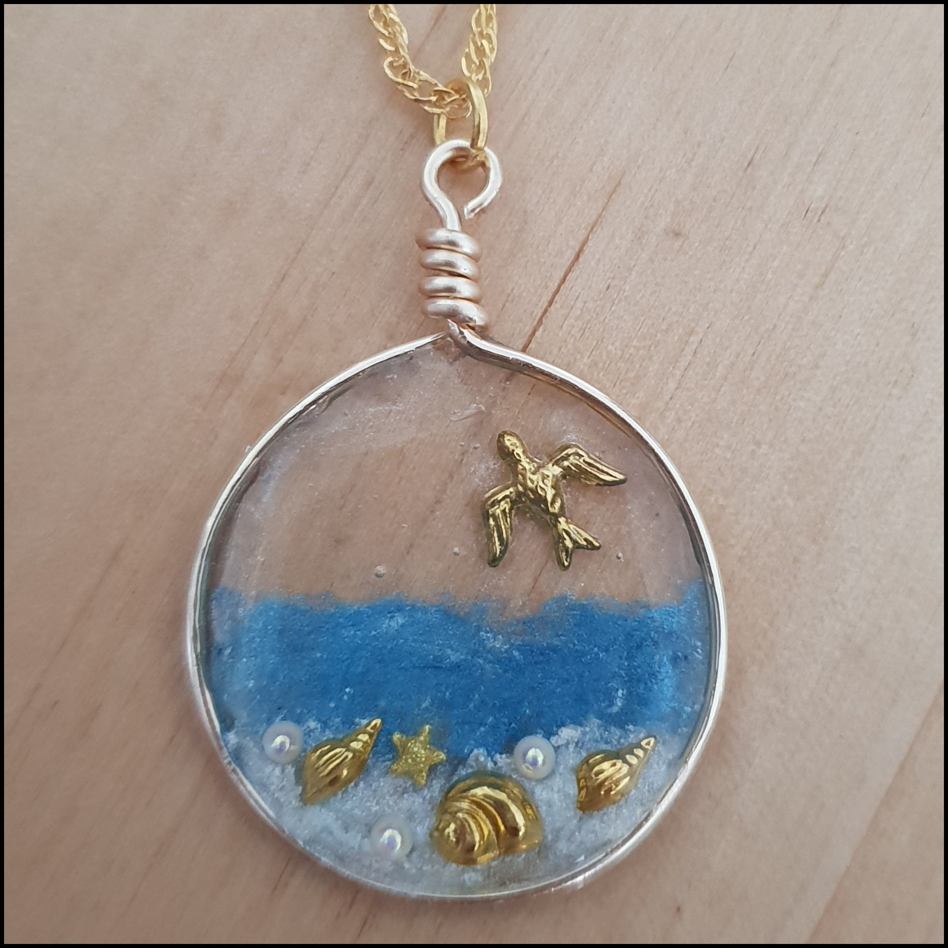Handmade Layered Resin & Wire Pendant - Gold Beach Scene in Circle