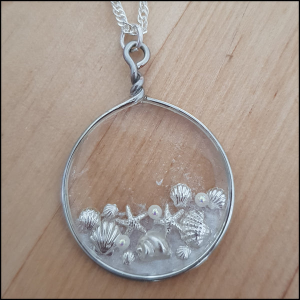 Handmade Layered Resin & Wire Pendant - Silver Shell Cluster in Circle