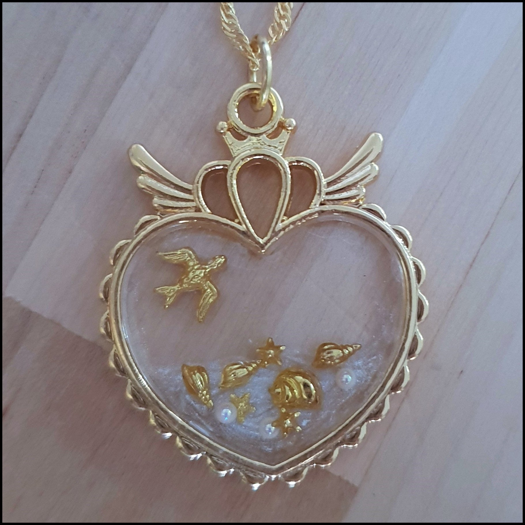 Handmade Layered Resin Gold Heart Beach Scene Pendant