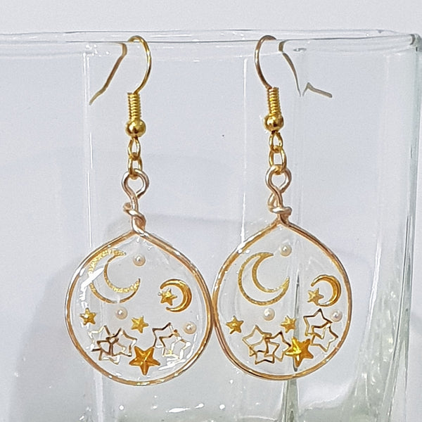 Handmade Layered Resin & Wire Earrings - Gold Stars & Moon