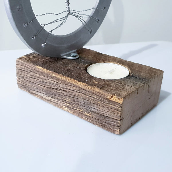 Rustic Candle Holder for Tree of Life Horseshoe - Candle Behind