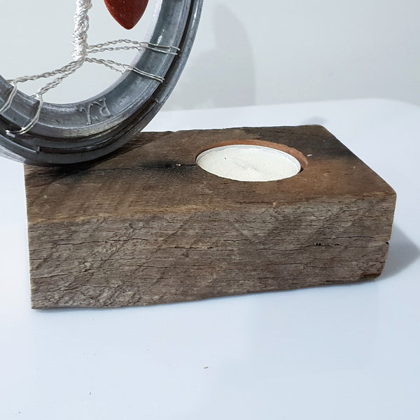 Rustic Candle Holder for Tree of Life Horseshoe - Candle Beside