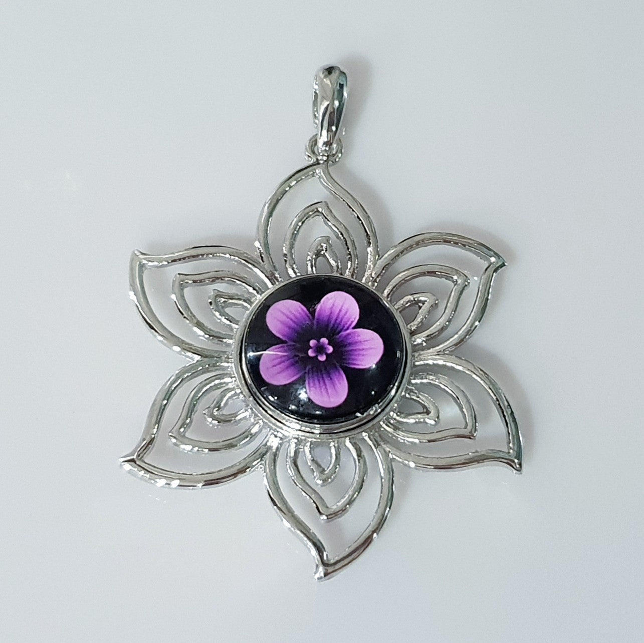 Open Flower Snap Pendant with Snap Button