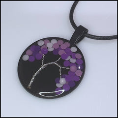 Handmade Resin Tree Pendant - Purple