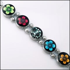 5 Snap Button Flower Bracelet Set