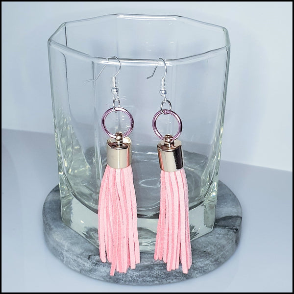 Handmade Tassel Earrings - Pink